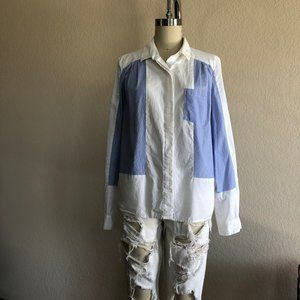 FC Panel Button Up Top Blouse Patch Striped Pocket